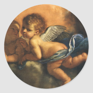 Angel detail, Patron Saints of Modena by Guercino Classic Round Sticker