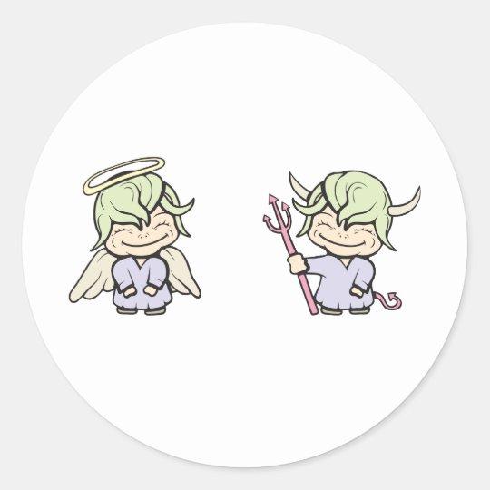 angel-devil!  Customizable! Classic Round Sticker