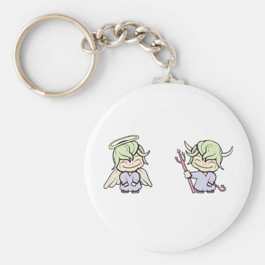angel-devil!  Customizable! Keychain