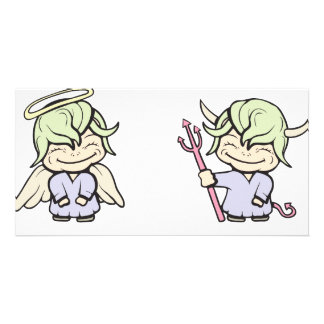 angel-devil!  Customizable! Picture Card