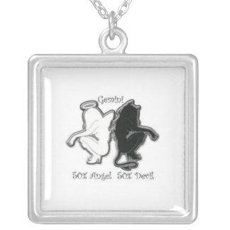 angel/devil square pendant necklace