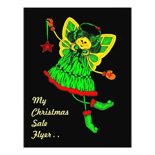 Ángel dibujado mano del navidad con el poema flyer personalizado