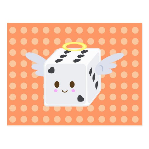 Angel Dice with Hearts Post Card