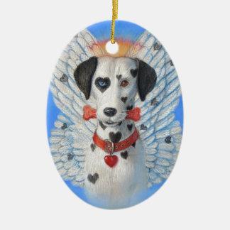 Ángel divertido del perro del punto del corazón ornamento de navidad
