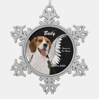 Angel Dog Beagle Memorial Christmas Snowflake Pewter Christmas Ornament
