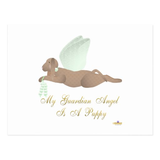 Angel Dog Brown Green Roses Guardian Angel Puppy Postcard