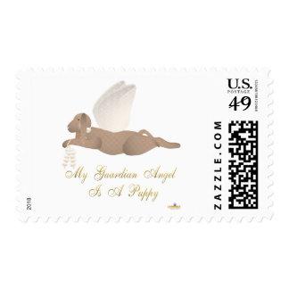 Angel Dog Brown Orange Roses Guardian Angel Puppy Stamp