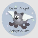 Angel Dog Classic Round Sticker
