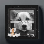 "Angel Dog Golden Pet Memorial Photo Plaque<br><div class=""desc"">Sweet Golden Retriever dog with a halo and wings sitting on a fluffy cloud, with your beloved canine companion&#39;s name and the years you shared together for a lovely framed pet memorial. Three sizes available shown is the square 5x5 size. PAWSitively PETS also offers this frame in a 5x7 and...</div>"