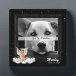 """Angel Dog Golden Pet Memorial Photo Plaque<br><div class=""""desc"""">Sweet Golden Retriever dog with a halo and wings sitting on a fluffy cloud, with your beloved canine companion&#39;s name and the years you shared together for a lovely framed pet memorial. Three sizes available shown is the square 5x5 size. PAWSitively PETS also offers this frame in a 5x7 and...</div>"""