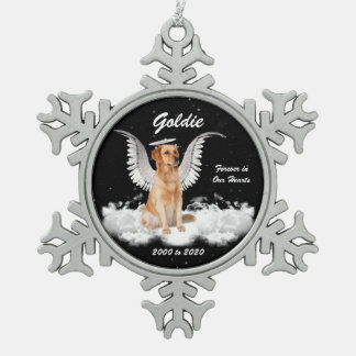 Angel Dog Golden Retriever Memorial Christmas Snowflake Pewter Christmas Ornament