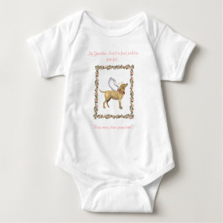 Angel Dog Pink Rose Baby Bodysuit