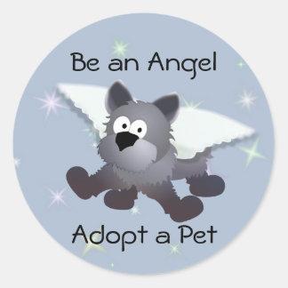 Angel Dog Round Sticker