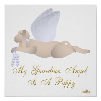 Angel Dog Tan Blue Roses Guardian Angel Puppy Poster