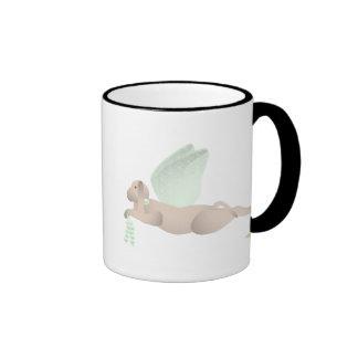 Angel Dog Tan Green Roses Coffee Mugs