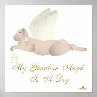 Angel Dog Tan Yellow Roses Guardian Angel Dog Poster