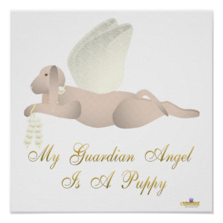 Angel Dog Tan Yellow Roses Guardian Angel Puppy Poster