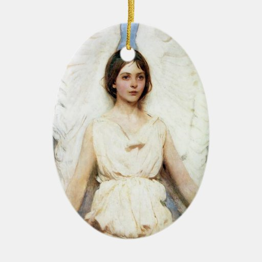 Angel Double-Sided Oval Ceramic Christmas Ornament
