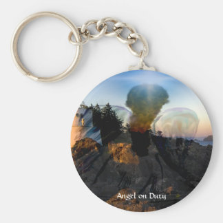 Angel Down By The Sea Basic Round Button Keychain