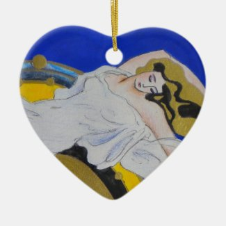 Angel Dreaming Heart Christmas Ornament
