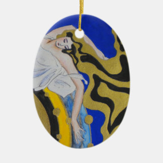 Angel Dreaming Oval Christmas Ornament