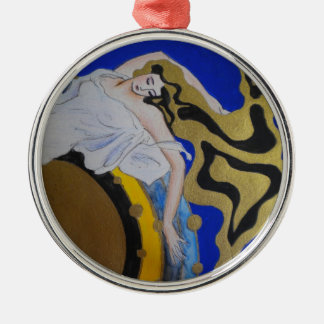 Angel Dreaming Premium Round Christmas Ornament