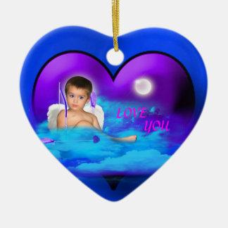 ANGEL-DREAMS CUPID,S-MAGIC-HEART-ORNAMENT CERAMIC ORNAMENT