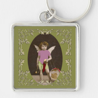 Angel Drum Girl Silver-Colored Square Keychain