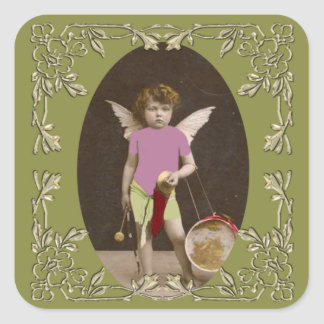 Angel Drum Girl Square Sticker
