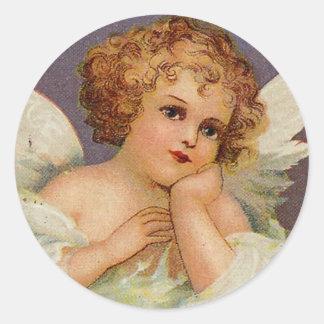 Ángel dulce pegatina redonda