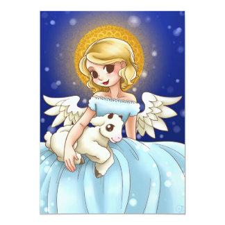 Ángel e invitación personalizada cordero invitación 12,7 x 17,8 cm