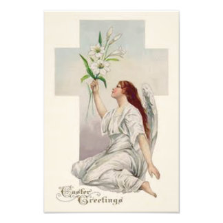 Angel Easter Lily Christian Cross Photo Print