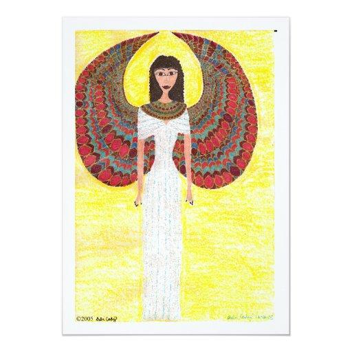 Ángel egipcio antiguo invitación 12,7 x 17,8 cm
