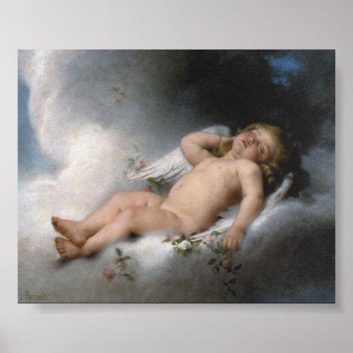 Ángel el dormir por la impresión de León Jean Basi Póster