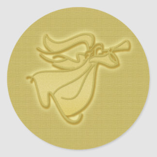 Ángel elegante del oro pegatina redonda