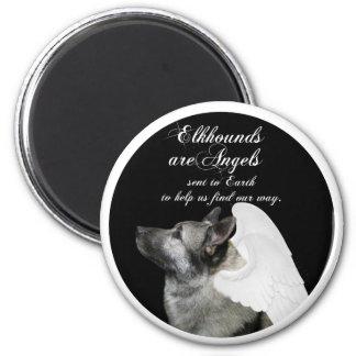 Angel Elkhound 2 Inch Round Magnet