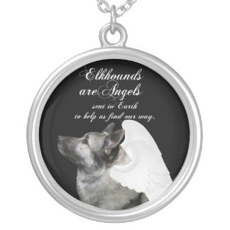 Angel Elkhound Silver Plated Necklace