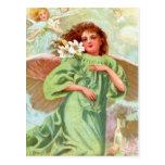 Ángel en capa verde tarjeta postal