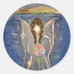 Ángel en el agua etiquetas redondas