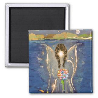 Ángel en el agua imán para frigorífico