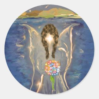 Ángel en el agua pegatina redonda