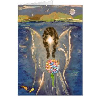 Ángel en el agua tarjeta de felicitación