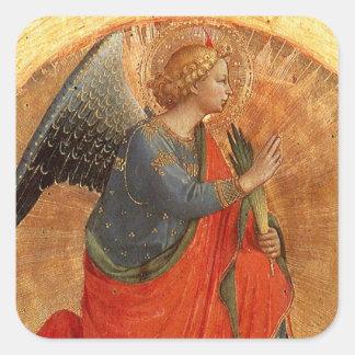 Ángel en el anuncio pegatina cuadrada