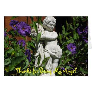 Ángel en el jardín tarjeton