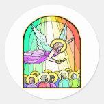 Ángel en el vitral #0011 etiqueta redonda