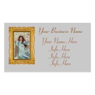 Ángel en guirnalda azul del vestido y de la flor tarjetas de visita