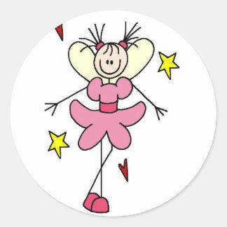 Ángel en la figura rosada pegatina del palillo