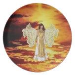Ángel en la placa del cielo plato