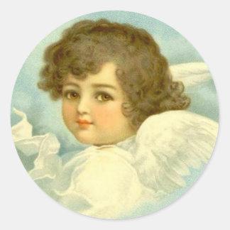 Ángel en las nubes pegatina redonda