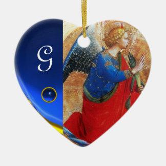 ÁNGEL EN monograma ROJO Y AZUL del ORO del corazón Ornaments Para Arbol De Navidad